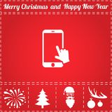 Touch screen Icon Vector. And bonus symbol for New Year - Santa Claus, Christmas Tree, Firework, Balls on deer antlers Stock Photography