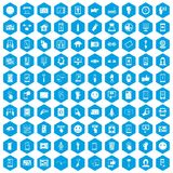 100 touch screen icons set blue. 100 touch screen icons set in blue hexagon isolated vector illustration Royalty Free Stock Photo