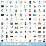 100 touch screen icons set, cartoon style Royalty Free Stock Image