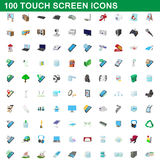 100 touch screen icons set, cartoon style. 100 touch screen icons set in cartoon style for any design vector illustration vector illustration