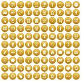 100 touch screen icons set gold. 100 touch screen icons set in gold circle isolated on white vector illustration Royalty Free Illustration