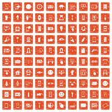 100 touch screen icons set grunge orange. 100 touch screen icons set in grunge style orange color isolated on white background vector illustration Stock Photography