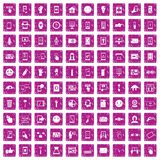 100 touch screen icons set grunge pink. 100 touch screen icons set in grunge style pink color isolated on white background vector illustration royalty free illustration