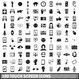 100 touch screen icons set, simple style Stock Photos