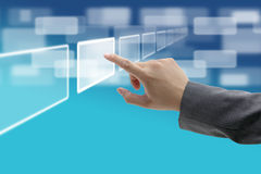 Touch screen interface. Hand push on technology virtual touch screen interface Royalty Free Stock Photo