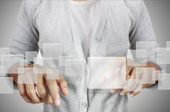 Touch screen interface. Hand pushing on a touch screen interface Royalty Free Stock Photo
