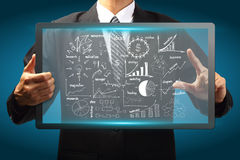 Touch screen interface with drawing business strategy plan Stock Image