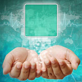 Touch screen interface hand Royalty Free Stock Photography