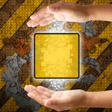 Touch screen interface on hand Royalty Free Stock Photos