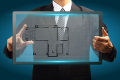 Touch screen interface House blueprints Royalty Free Stock Photography