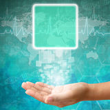 Touch screen interface on Woman hand Royalty Free Stock Photography
