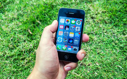 Touch screen on iphone application Royalty Free Stock Images