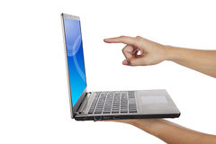 Touch screen laptop Stock Image