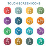 Touch screen long shadow icons Royalty Free Stock Photos