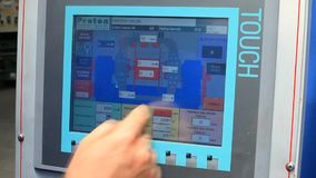 Touch screen of the machine used in the production. Of electrical cables in the factory building stock video footage