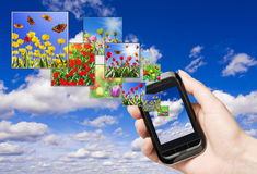 Touch screen mobile phone. With streaming images stock images