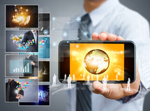 Touch screen mobile phone Royalty Free Stock Images