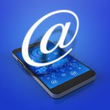 Touch screen mobile phone with email icons Royalty Free Stock Images