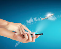 Touch screen mobile phone, in hand Royalty Free Stock Photo