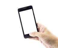 Touch screen mobile phone, in hand Stock Photos