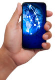Touch screen mobile phone with streaming images Stock Photo