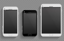Touch screen mobile phones, smartphones in different size and tablet vector realistic templates Royalty Free Stock Image