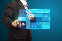Touch screen new modern computer and business strategy Royalty Free Stock Photos
