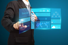 Touch screen new modern computer business strategy Stock Photos
