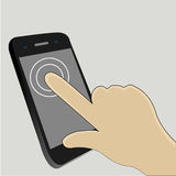 Touch Screen. One finger touch the screen to start an app Stock Image
