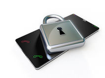Touch screen phone with a metallic padlock above. Stock Images