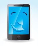 Touch screen phone smiling Stock Photo