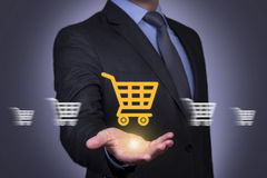 Touch Screen Shopping Cart Motion on Human Hand. Working business concept Stock Images