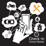 Touch screen Smart Phone ,Motorcycle car garage Royalty Free Stock Image