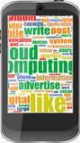 Touch screen smart phone with social word cloud Royalty Free Stock Images
