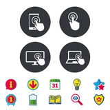 Touch screen smartphone. Hand pointer symbols. Touch screen smartphone icons. Hand pointer symbols. Notebook or Laptop pc sign. Calendar, Information and Royalty Free Stock Photo