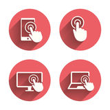 Touch screen smartphone. Hand pointer symbols Royalty Free Stock Photo