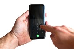Touch screen smartphone in hands. Isolated over white Royalty Free Stock Images