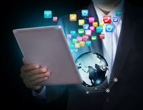 Touch screen tablet with application icons Stock Photos