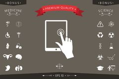 Touch screen tablet with click hand. Signs and symbols - graphic elements for your design Stock Image