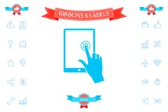 Touch screen tablet with click hand. Signs and symbols - graphic elements for your design Royalty Free Stock Photography