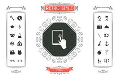 Touch screen tablet with click hand. Signs and symbols - graphic elements for your design Stock Photo