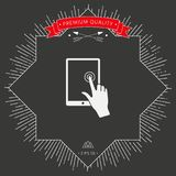 Touch screen tablet with click hand. Signs and symbols - graphic elements for your design Royalty Free Stock Images