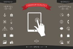 Touch screen tablet with click hand. Signs and symbols - graphic elements for your design Stock Photography