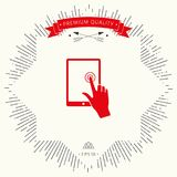 Touch screen tablet with click hand. Signs and symbols - graphic elements for your design Stock Images