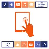 Touch screen tablet with click hand. Signs and symbols - graphic elements for your design Stock Photos