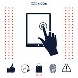 Touch screen tablet with click hand. Signs and symbols - graphic elements for your design Royalty Free Stock Photo