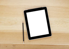 Touch screen tablet computer with blank screen and pencil Stock Photo