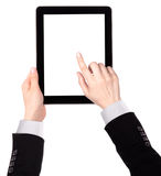 Touch screen tablet computer with hand Royalty Free Stock Images