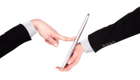 Touch screen tablet computer with hand Royalty Free Stock Photography