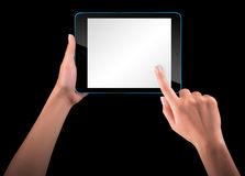 Touch screen tablet computer with hand Royalty Free Stock Photos